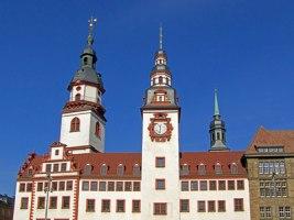 Altes Rathaus und Stadtkirche in Chemnitz