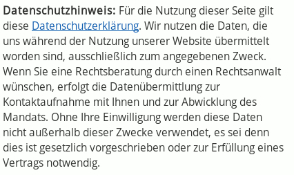 Datenschutzhinweis im Profil